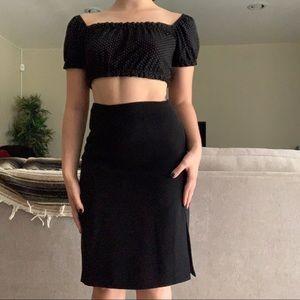 Black Pencil Skirt w/ Side Slit